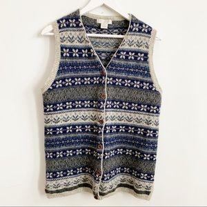 Vintage San Francisco Blue Print Wool Vest Size M